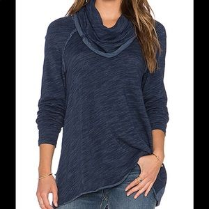 EUC Free People Beach Dark Blue Funnel Neck Shirt